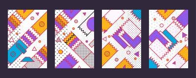Hipstermode Memphis Style Geometric Pattern Vektor Illustrationer