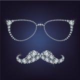 Hipstermustaschen och exponeringsglas utgjorde många diamanter Arkivfoto