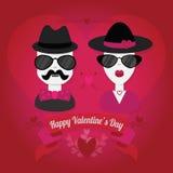 Hipsterpaar met hoed en zonnebril Royalty-vrije Illustratie