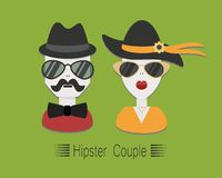 Hipsterpaar met zonnebril en hoeden op groene B Stock Illustratie