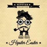 Hipsterpaasei met pijp - wijnoogst stock illustratie