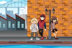 Hipsterpojke i stads- stad stock illustrationer