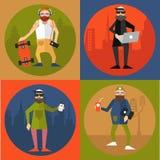 Hipsters στο σύγχρονο επίπεδο ύφος Στοκ εικόνα με δικαίωμα ελεύθερης χρήσης
