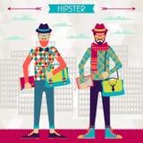 Δύο hipsters στο αστικό υπόβαθρο στο αναδρομικό ύφος Στοκ φωτογραφία με δικαίωμα ελεύθερης χρήσης