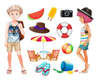 Hipsters and beach objects Stock Images