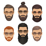 Hipsters bearded men with different hairstyles mustaches beards. Isolated on white background Royalty Free Stock Image