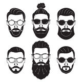 Hipsters bearded men with different hairstyles mustaches beards. Isolated on white background Stock Photo