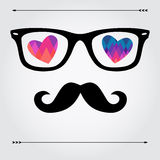Hipsters' card with glasses. Cute and fun card with hipster glasses, moustache and colorful geometric hearts Royalty Free Stock Images