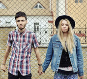 Hipsters couple outdoor fashion portrait. Stock Images