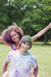 Hipsters covered in powder paint Royalty Free Stock Photo