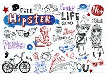 Hipsters doodle set Royalty Free Stock Image