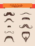 Hipsters elements mustaches set EPS10 file. Retro hipsters fashion ribbon text label over mustaches set. EPS10 vector file organized in layes for easy editing Stock Photo