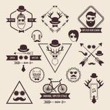 Hipsters förser med märke mallar med stället för din text symbolsinternetpictograms ställde in vektorrengöringsdukwebsite royaltyfri illustrationer