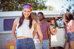 Hipsters hanging out by camper van Stock Photo
