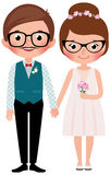 Hipsters Happy bride and groom Stock Photos