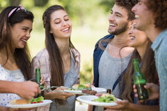 Hipsters have lunch and beers Royalty Free Stock Photography