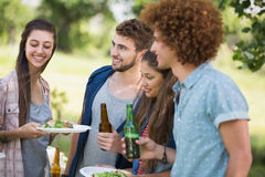 Hipsters have lunch and beers Royalty Free Stock Images