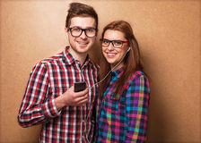 Hipsters listening music together. Royalty Free Stock Photography