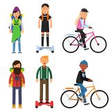 Hipsters make a trip. Bicycles riders. Vector characters set. Illustration of hipster rider on gyroscope or bicycle, healthy transport activity Stock Photo