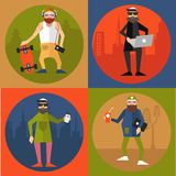 Hipsters in modern flat style Royalty Free Stock Image