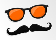 Hipsters mustache and glasses Royalty Free Stock Photo