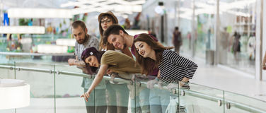 Hipsters In Shopping Mall. Group Of Hipsters In Shopping Mall Stock Photography