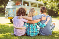Hipsters sitting on the grass Stock Image