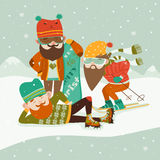 Hipsters with ski and snowboard Royalty Free Stock Images
