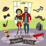Hipsters Subculture Illustration. Subculture hipsters design in cartoon style with skateboard mustache hat bow tie coffee around people vector illustration Stock Photos