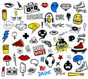 Hipsters teens doodle set. Vector set of teens pictures in doodle style Stock Photos