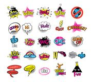 Hipsters teens set of stikers. Vector set of teens pictures in doodle style Stock Image