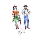 Hipsters Watercolor Στοκ Φωτογραφίες