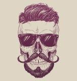 Hipsterschedel met zonnebril, hipster haar en snor vector illustratie