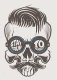 Hipsterskalle med modefrisyren stock illustrationer