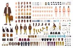 Hipsterskapelsesats Uppsättningen av plana manliga kroppsdelar för tecknad filmtecken, hud skriver, ansikts- gester, frisyrer som