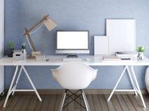 Hipsterskrivbord med en modellskärmbildskärm Royaltyfri Illustrationer