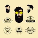 Hipsterstil av grabben med solglasögon och samling av beståndsdelar stock illustrationer