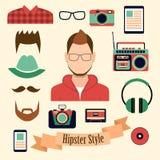 Hipsterstil med beståndsdelar och symboler för en hipster Arkivfoton