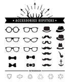 Hipsterstil och tillbehörsymbolsuppsättning vektor illustrationer
