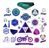 Hipsterstilbeståndsdelar, symboler och etiketter Arkivfoton