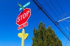 Hipsterstoppet undertecknar in Portland Arkivfoto