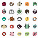 Hipstersymboler på färgrika cirklar stock illustrationer
