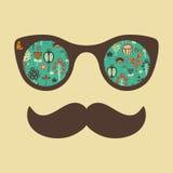 Hipstertappningsolglasögon med färgrika blommor Royaltyfri Fotografi