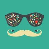 Hipstertappningsolglasögon med fjärilar och hjärtor Royaltyfria Foton