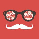 Hipstertappningsolglasögon med Santa Claus Royaltyfri Foto
