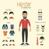 Hipstertecken med Hipsterbeståndsdelar royaltyfri illustrationer