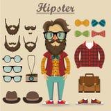 Hipstertecken och hipsterbeståndsdelar, objekt, mode, vektor Royaltyfria Bilder