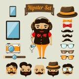 Hipsterteckenbeståndsdelar för nerdpojke Royaltyfri Fotografi