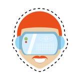 hipter van de de glazentechnologie van de mensen de virtuele werkelijkheid lijn van de het ontwerpbesnoeiing Royalty-vrije Stock Foto's