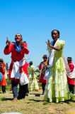 Hira gasy, Malagasy traditional open air singing show. Tradition typical of the high land of Madagascar. The group is always dressed up with bright colorful Royalty Free Stock Photography